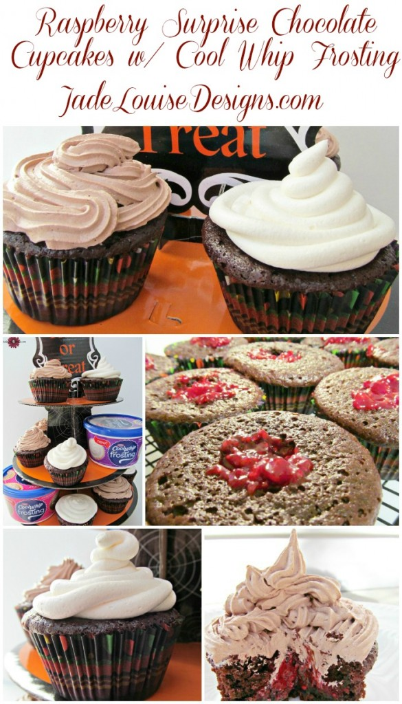 Raspberry Filled Gourmet Cupcakes Tutorial #CoolWhipFrosting #cbias