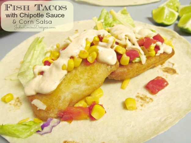 Fish tacos recipe with chipotle sauce and salsa corn for Fish taco recipe sauce