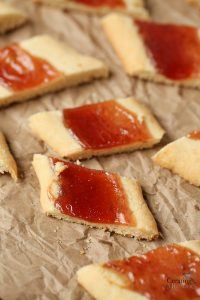Melt in your Mouth Shortbread Cookie Logs with Jam center