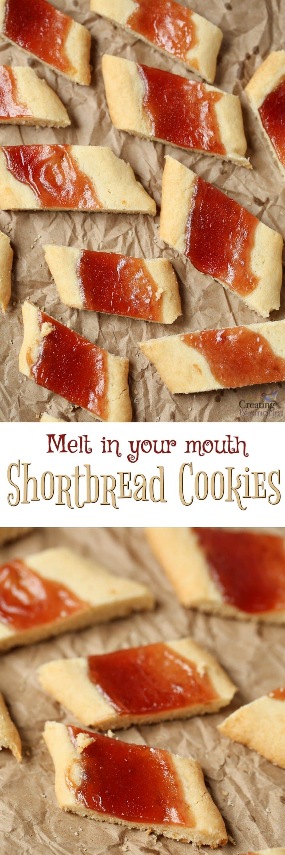Melt in your mouth Shortbread Cookie logs with a buttery base, filled with your favorite jam preserve served up in bite-sized slices! The Perfect Christmas Cookies or for family gatherings, potlucks, cookie exchanges, or just the perfect thumbprint cookie!