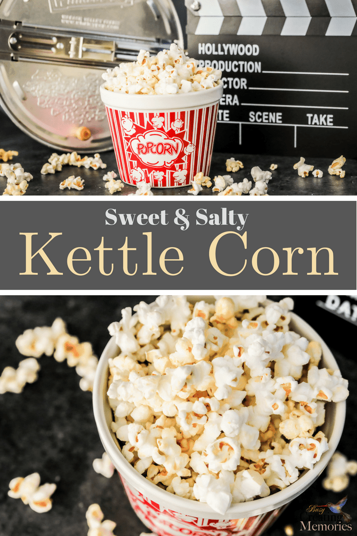 Love Old Fashioned Kettle Corn? Learn How to make the best easy homemade kettle corn recipe you can make right in your own kitchen on the stovetop using Coconut Oil!  The perfect blend of sweet & salty popcorn just like from the Fair!