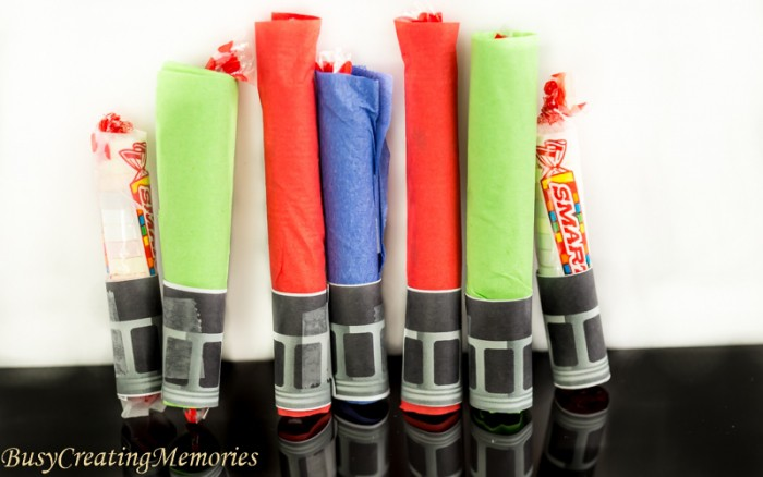 Smarties Lightsaber Craft Treat handout