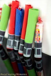 Smarties Lightsaber Craft Treat handout