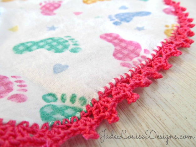 Crochet Edging Tutorial; How to Crochet Baby Burp Cloth, Crocheted ...