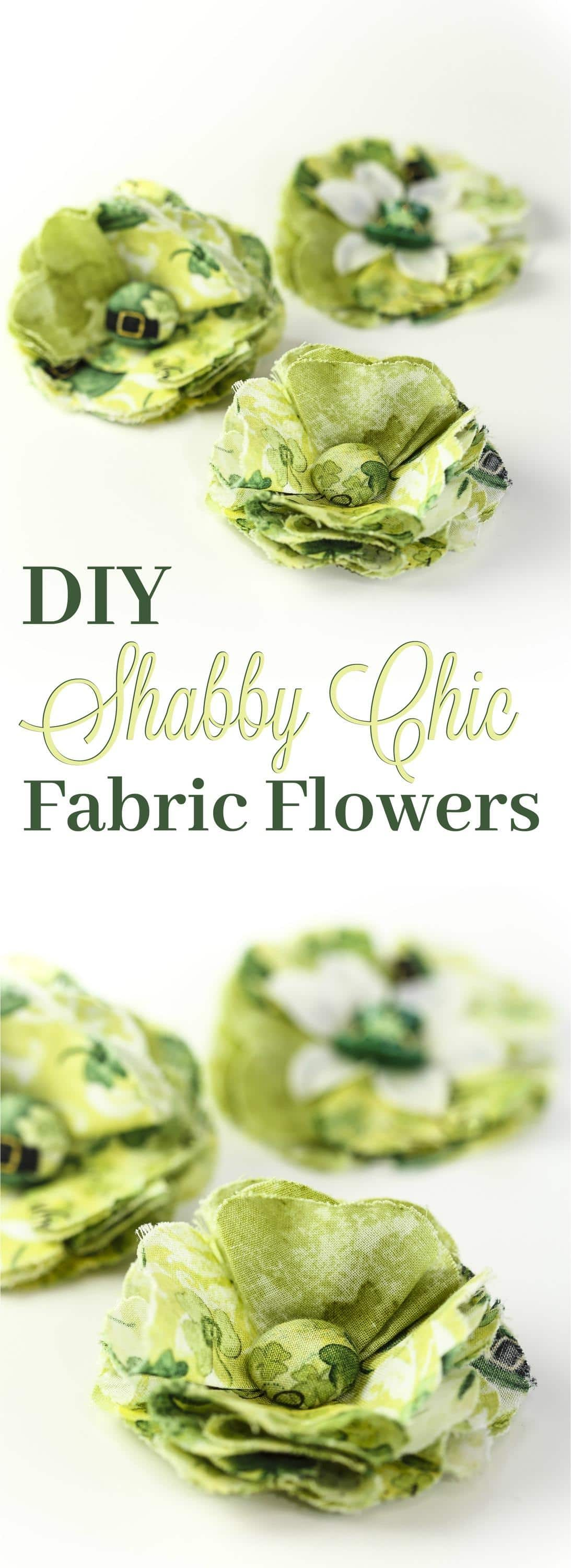 Stunning Shabby Chic Fabric Posy without the Boutique Price! These DIY Fabric Flowers can be used as hair accessories, jewelry, or even a bag accessory! Perfect for St. Patricks day, or simply change the fabric and you can match any holiday season or special event!