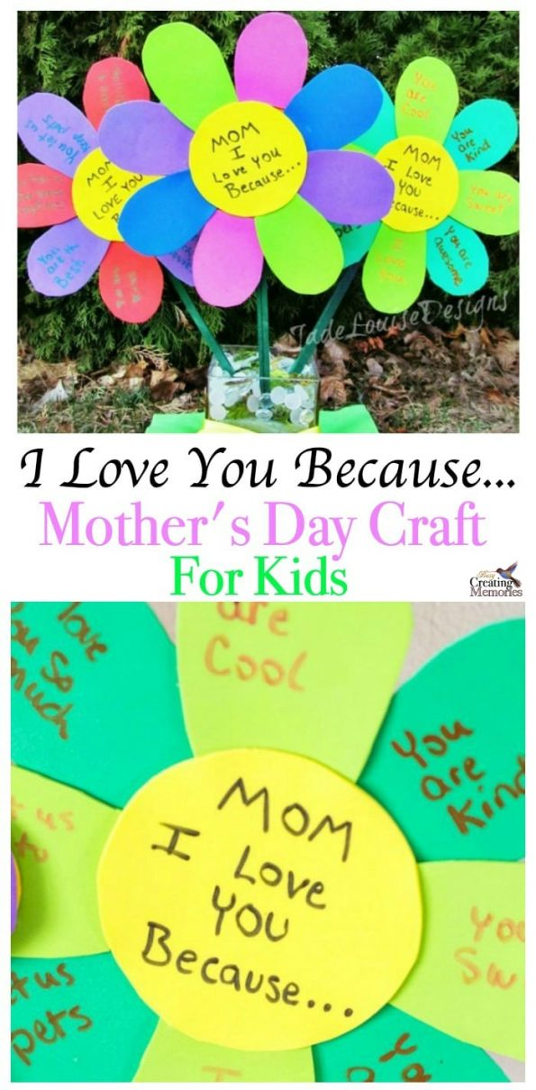 I Love You Because Mothers Day Craft Flowers For Kids To