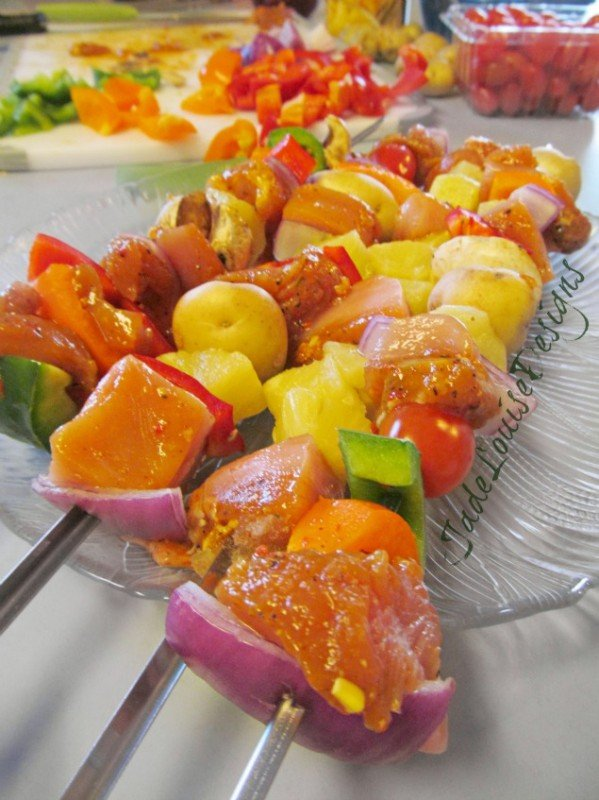 Grilled Tyson Chicken Kabob recipe, Perfect Summer Shish kabob; get the grilling started! #InspireMyDinner