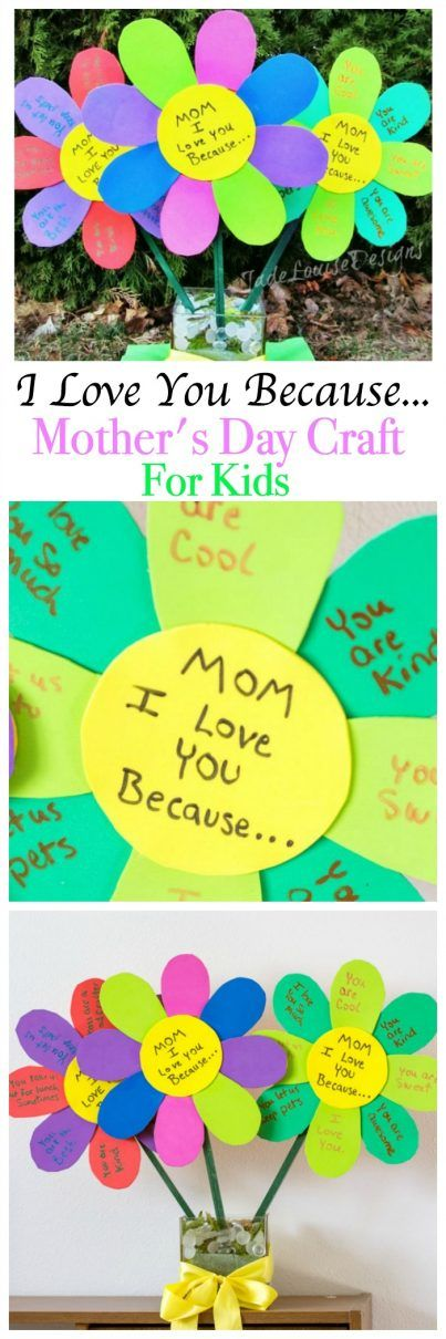 I Love You Because Mothers Day Craft Flowers