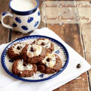 Chocolate Shortbread Cookies Recipe! Amazing Cheesecake cookies w/ Chocolate cookie base.