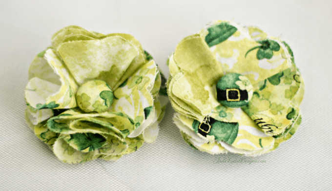 Fabric Flower Tutorial; How to make a St Patricks Day Shabby Chic Fabric Posy flower