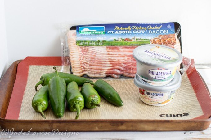Bacon Wrapped Stuffed Jalapenos with Philly cream cheese; Appetizer Recipe #SpreadTheFlavor #Shop