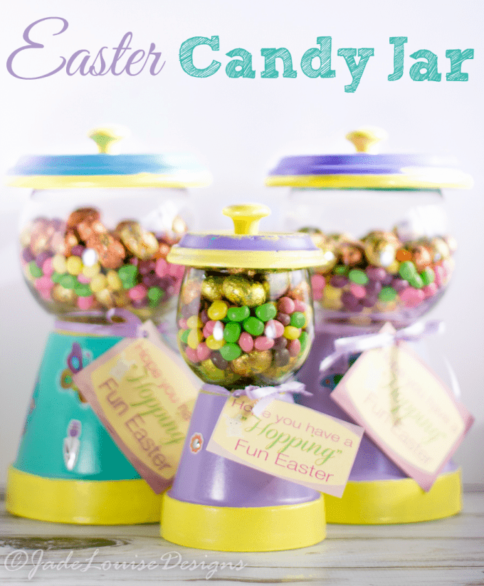 Learn how to make the best Easter Candy jar gumball machine! A simple Easter craft that makes the perfect spring gift. Filled with Nestle Easter Candy.