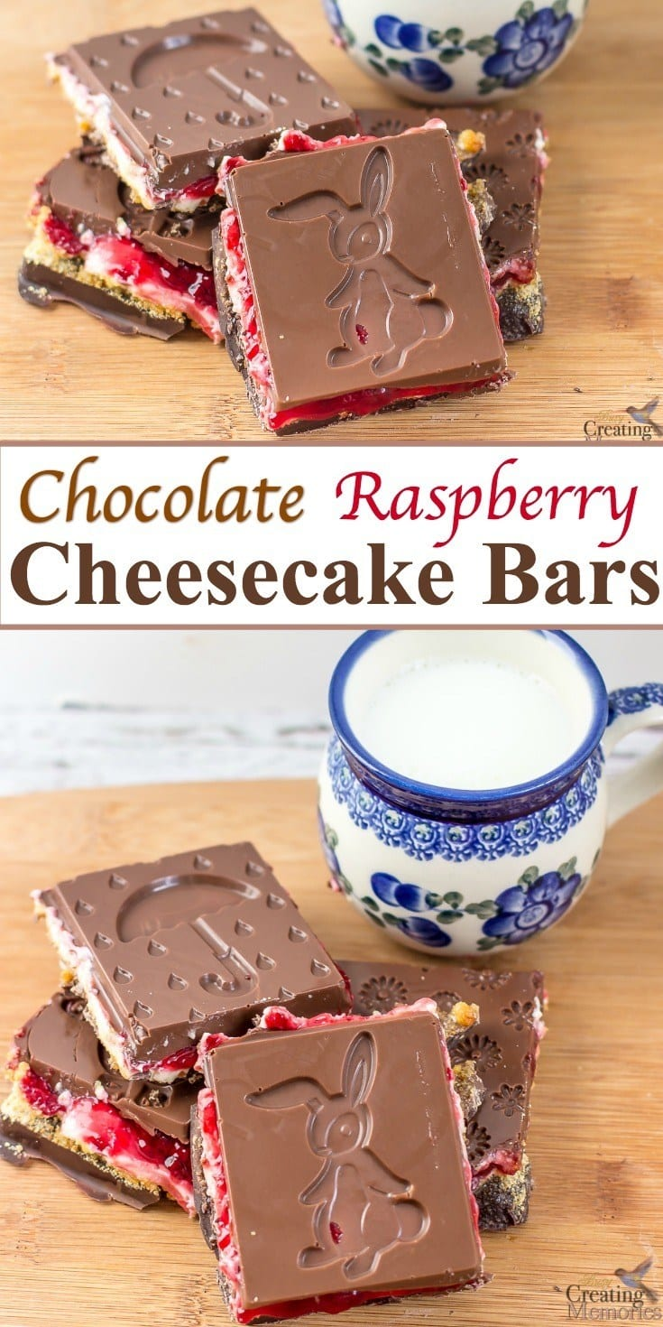 Take your dessert up a notch with the best easy No bake Cheesecake Bars! A simple recipe filled with graham crackers, cream cheese, fresh raspberry spread then sandwiched between Dark Chocolate bars using a fun Easter and Spring Themed mold!