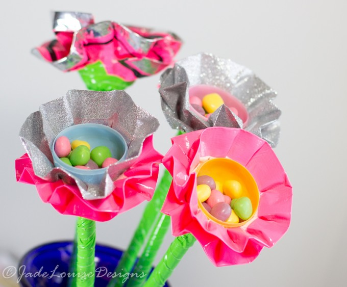 Spring Flowers craft; Duck Tape Egg Flower bouquet for Spring