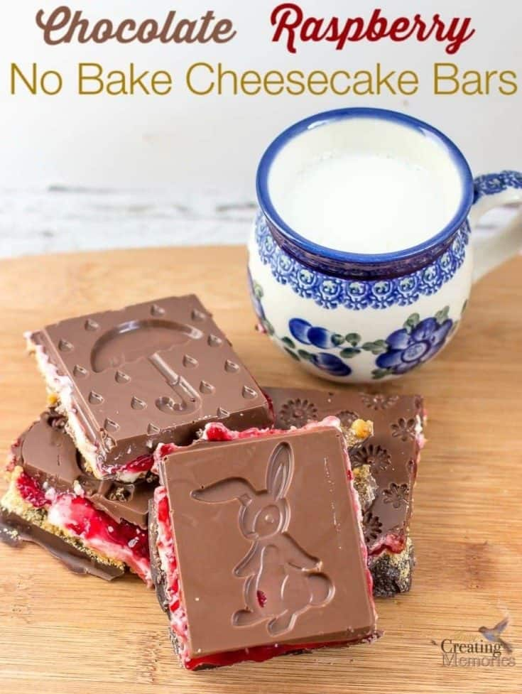 Chocolate Raspberry no bake Cheesecake Bars.