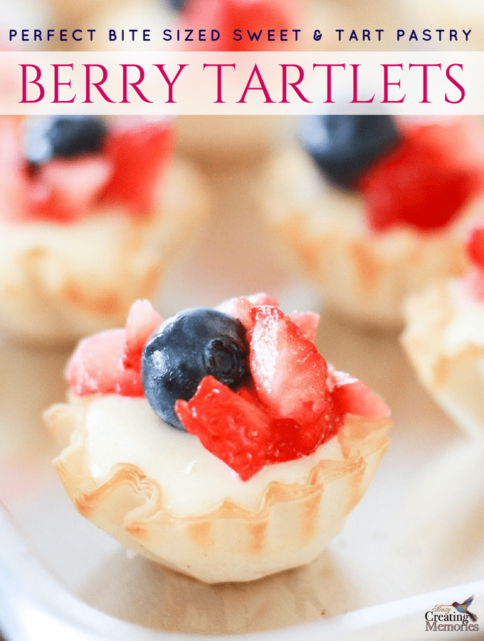 Berry Tartlet Recipe; Red, White and Blue bite-sized pastry sweets
