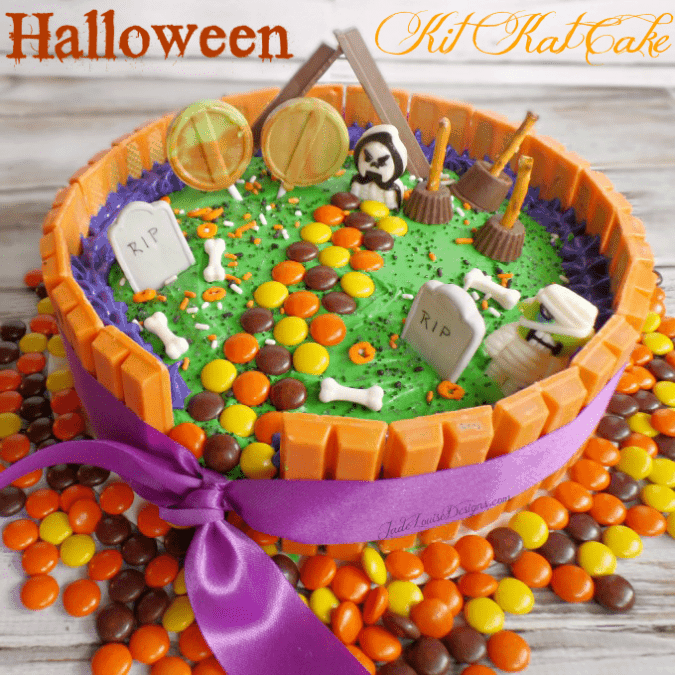Halloween Kit Kat Cake, Ghostly Graveyard
