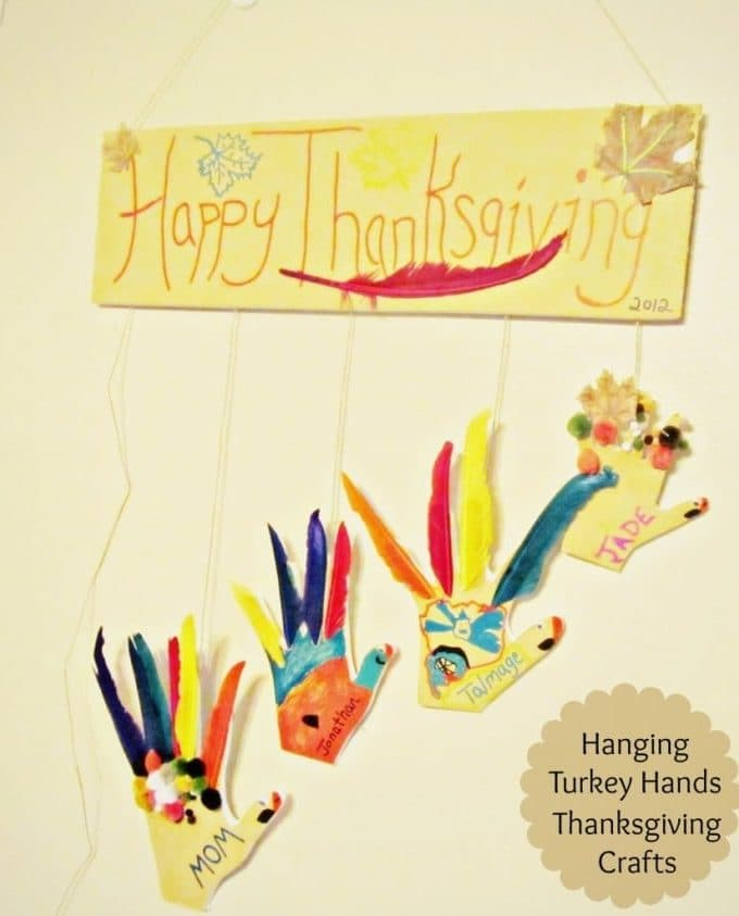 Thanksgiving Crafts: DIY Hanging Turkey Hands #GluenGlitter Kids craft