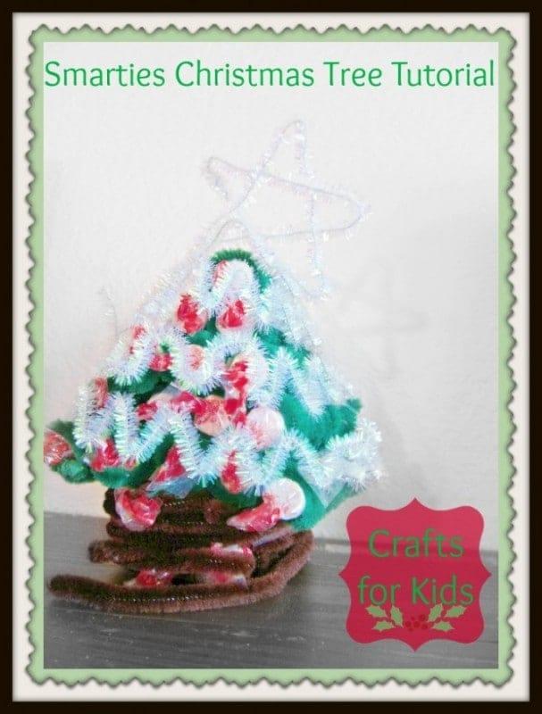 Smarties Christmas Craft for kids; Create a Smarties Christmas Tree #IAmASmartie #cbias
