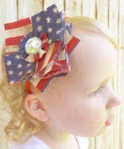 DIY Patriotic Patchwork Fabric Posy