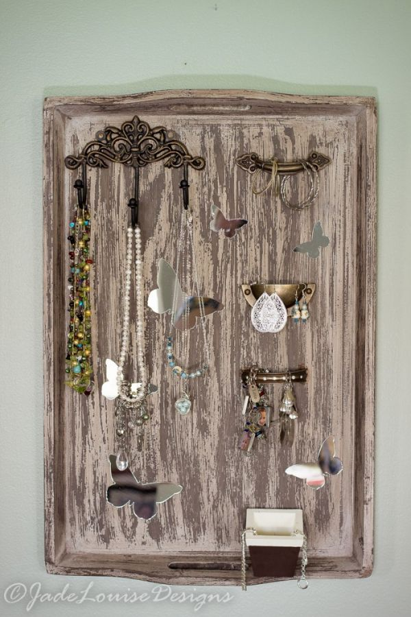 DIY Jewelry Holder from a Repurposed serving tray