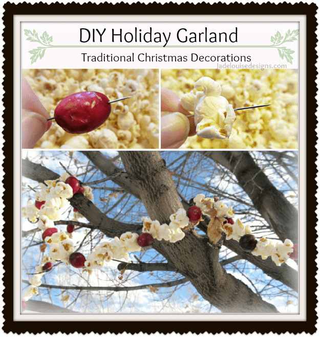 DIY Holiday Garland; Traditional Christmas Decorations with Pop Corn and Cranberries