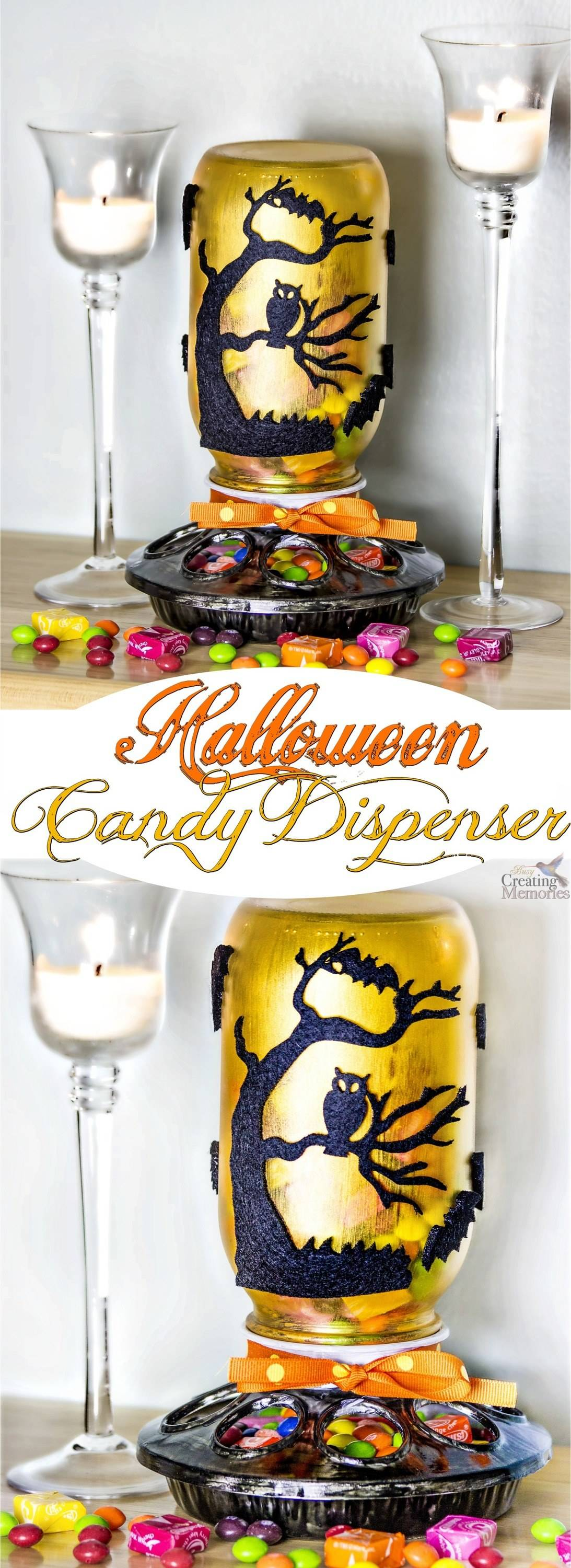 Don't settle for a boring Halloween Candy Dish! Share your holiday candy in this easy DIY Halloween Candy Dispenser! It makes picking up a treat fun for little fingers! Great for Teacher Gifts as well!