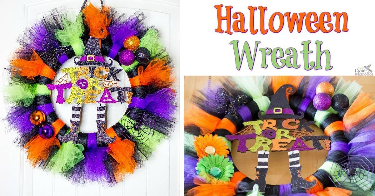 Get your house Spooky ready with this easy to make Tulle Tutu Halloween Wreath! A simple craft you can put together in under 30 minutes! Made of Tulle, Halloween sign and simple Halloween craft items.