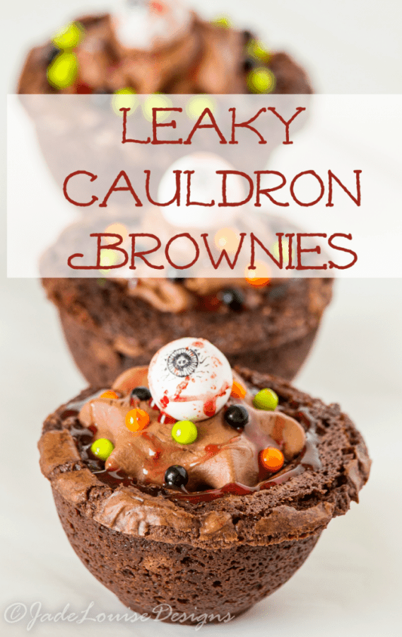 Spooky your Halloween Guests with this easy Leaky Cauldron Brownies cup dessert. A brownie base filled with chocolate goodness to please everyone!