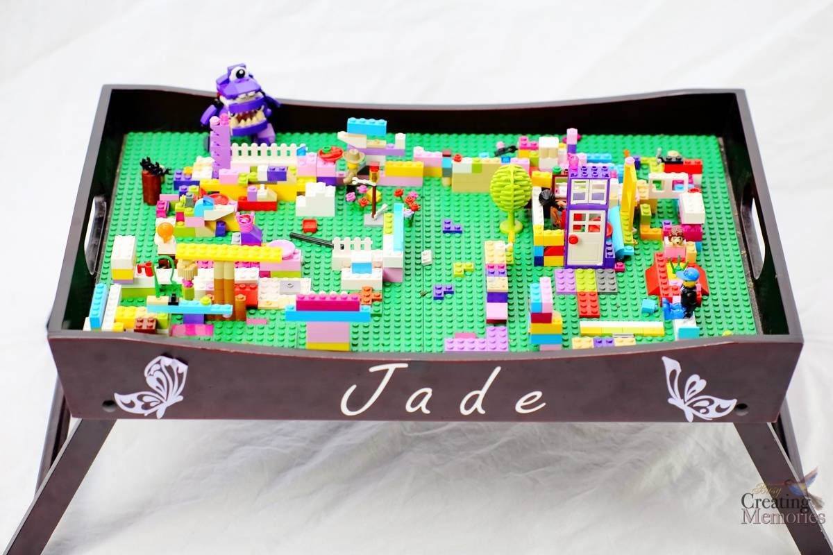diy lego tray table playstation best homemade gift for kids lego fans. Black Bedroom Furniture Sets. Home Design Ideas