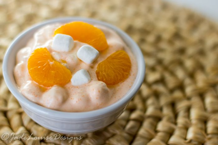 Orange Fluff Jello Salad with cottage cheese