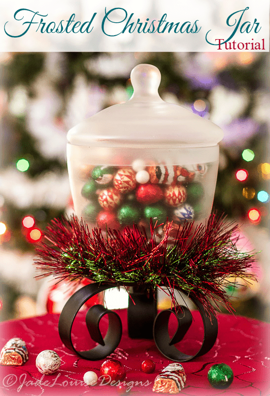 DIY Frosted Christmas Candy Jar filled with SweetWorks Candy! #SweetWorksHoliday
