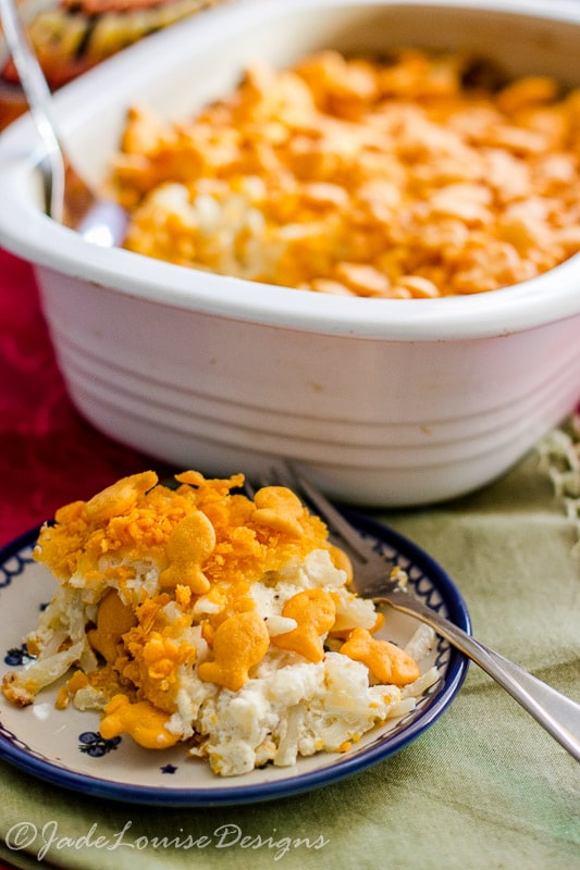 Cheesy Potato Casserole Recipe with Goldfish Crackers