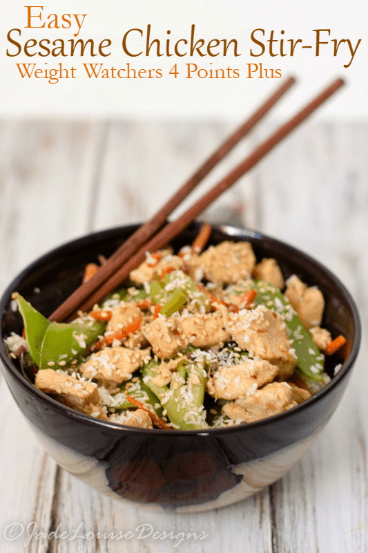 Easy Sesame Chicken Stir-fry Recipe low carb option Weight Watchers 4 Points Plus dinner