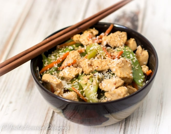 Easy Sesame Chicken Stir-fry Recipe low carb option #WeightWatchers 4 Points Plus dinner