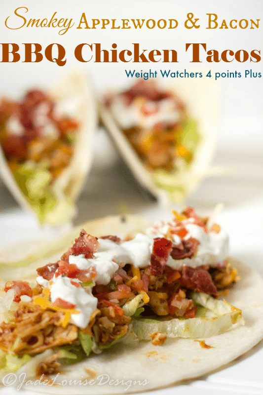 Easy Bacon BBQ Chicken Tacos Recipe in less than 15 minutes! #WeightWatchers 4 points Plus!