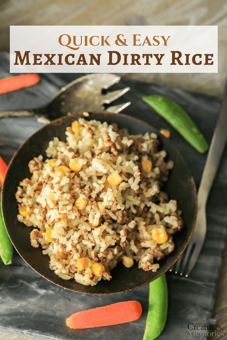 Enjoy an easy ground beef hamburger dirty rice recipe for a quick healthy family dinner w/ only 6 ingredients in just 20 minutes, perfect for a crowd! A simple homemade non-authentic Mexican rice comfort food meal with corn that kids love!