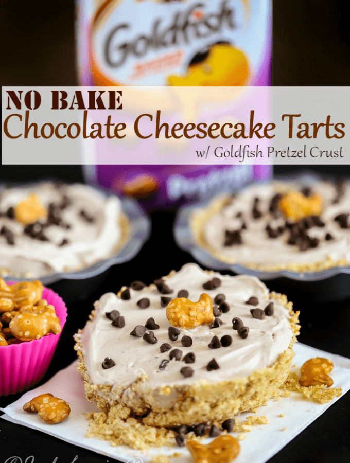 Fluffy No Bake Chocolate Cheesecake Tarts with Goldfish Pretzel Crust