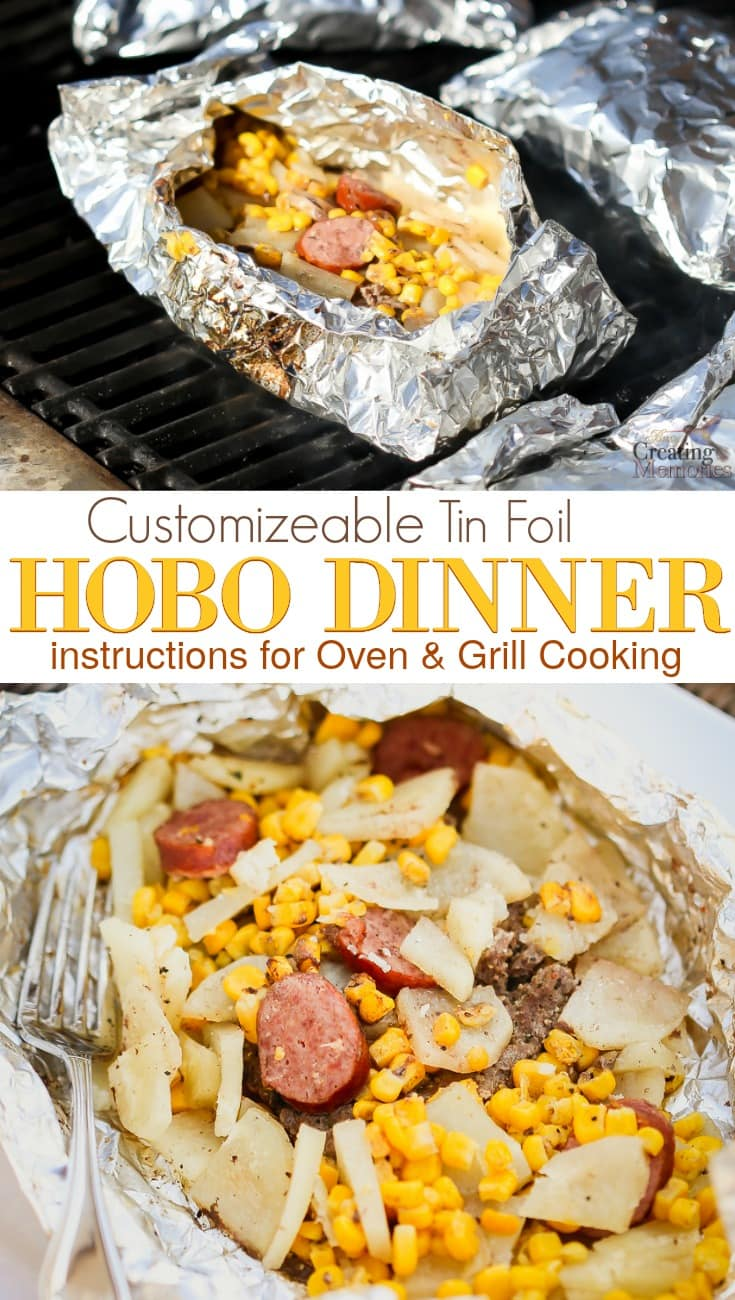 Create an easy tin foil family dinner recipes to please everyone! Customize your Hobo Dinner with hamburger, spiced beef sausage, potatoes and vegetables of your choice. Including directions to cook in the oven, on the grill or even a cooked over a camping fire! Plus a fast cleanup!