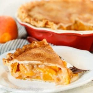 Fresh Peach Pie Recipe with cinnamon sugar crust