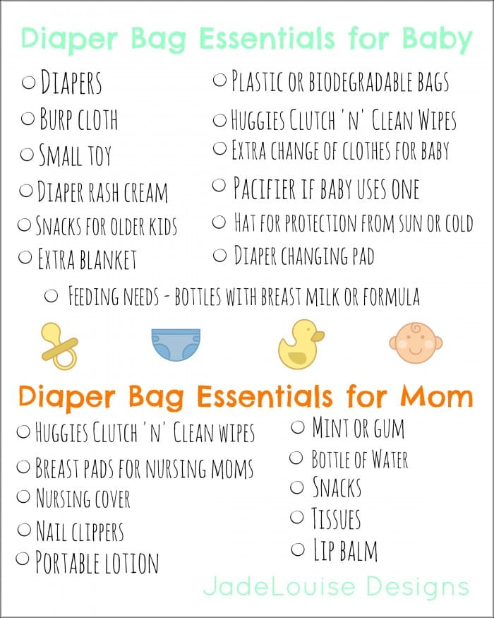 Diaper Bag Essentials + Printable What you need to pack a diaper bag