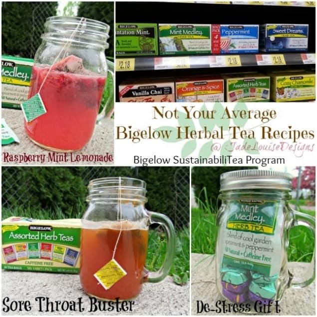 Not Your Average Bigelow Herbal Tea Recipes, Raspberry Mint Lemonade and Sore Throat Fighting Lemon Honey Herbal Tea #AmericasTea #cbias