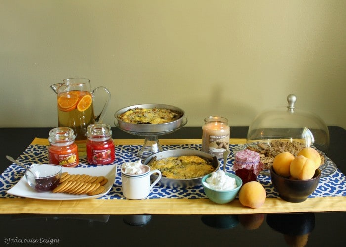 The perfect fall party tablescape with delicious food, American Home by Yankee Candle, and an easy sew table runner!