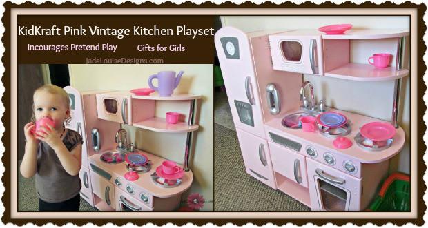 Kidkraft Kitchen Pink Vintage encourages pretend play #holidaygiftguide