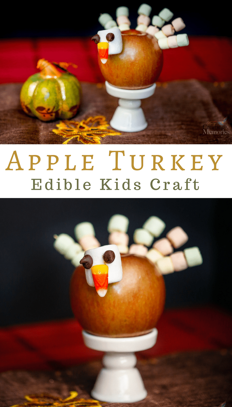 Keep the kids occupied while waiting for the feast with this cute apple turkey craft. An easy edible Thanksgiving activity that's fun & makes a delicious snack for children and adults of all ages.