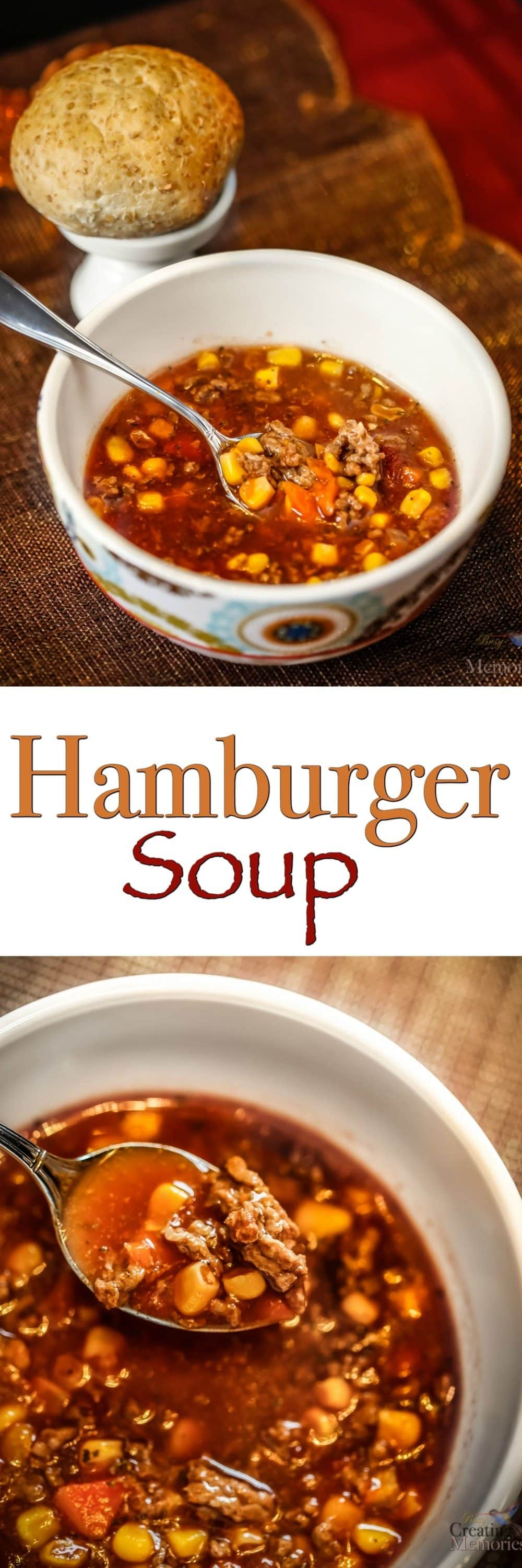 A heartwarming combination of hamburger and vegetables in a tomato base makes this delicious hamburger soup that is easy to throw together on a cold day.