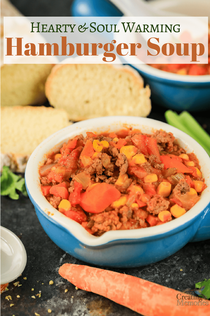 A heartwarming combination of hamburger and vegetables in a healthy tomato base makes the best delicious old-fashioned hamburger soup recipe that is easy to throw together in a slow cooker or stockpot on the stove for a cold day.