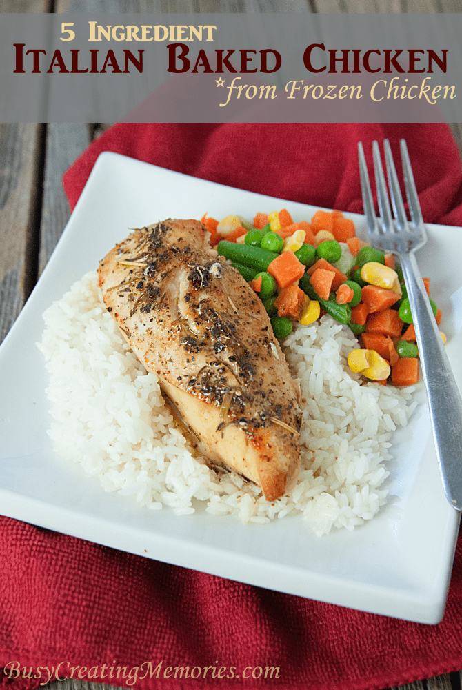 From Frozen to table in 20 minutes! This easy Italian Baked Chicken recipe is made from 5 ingredients and frozen chicken breasts. No need to thaw! Easily adapted to be Gluten Free by serving with vegetables instead of rice.