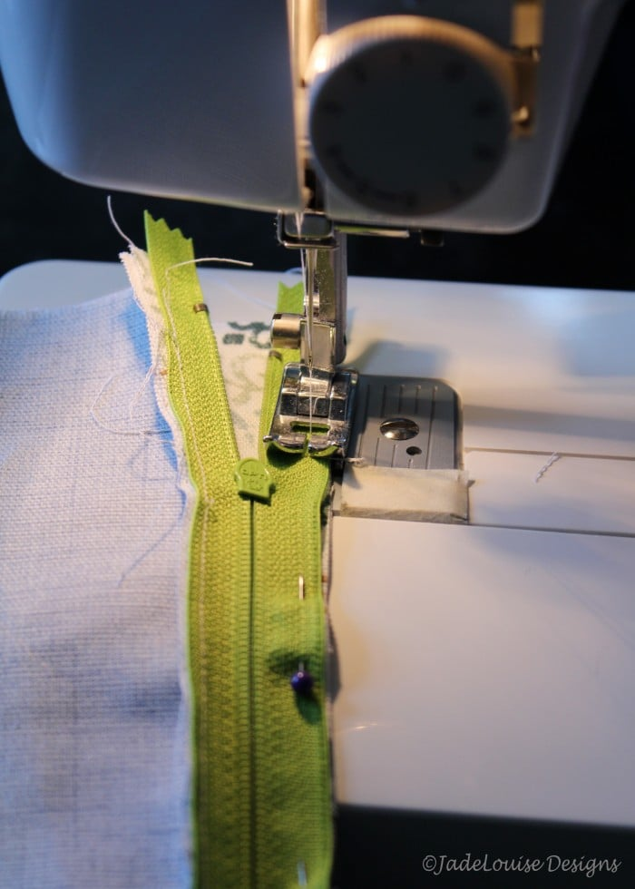 Sewing the second side of the zipper
