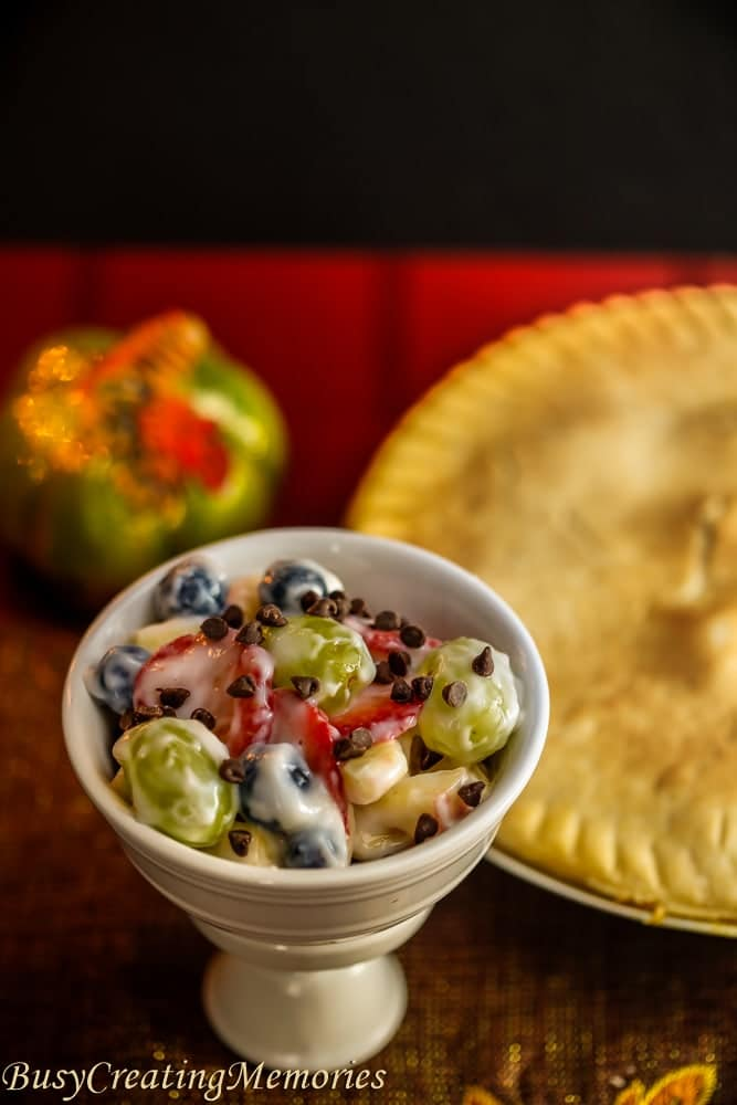 Quick and Easy fresh Fruit Salad with Marie Callender's Chicken Pot Pie